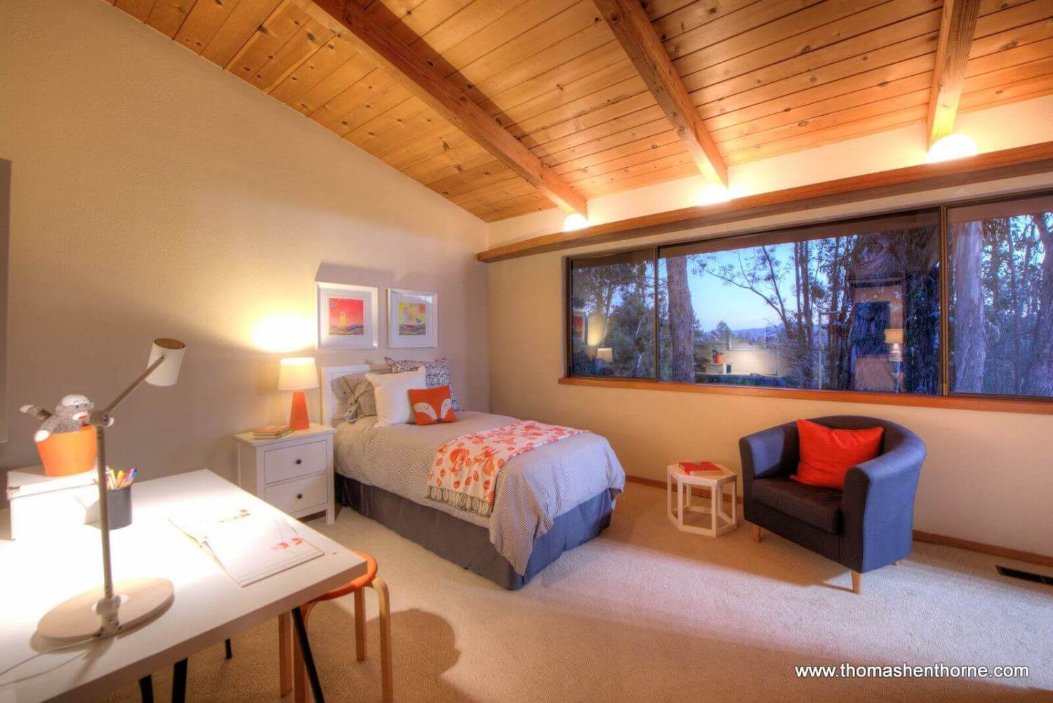 bedroom with view of mt tam