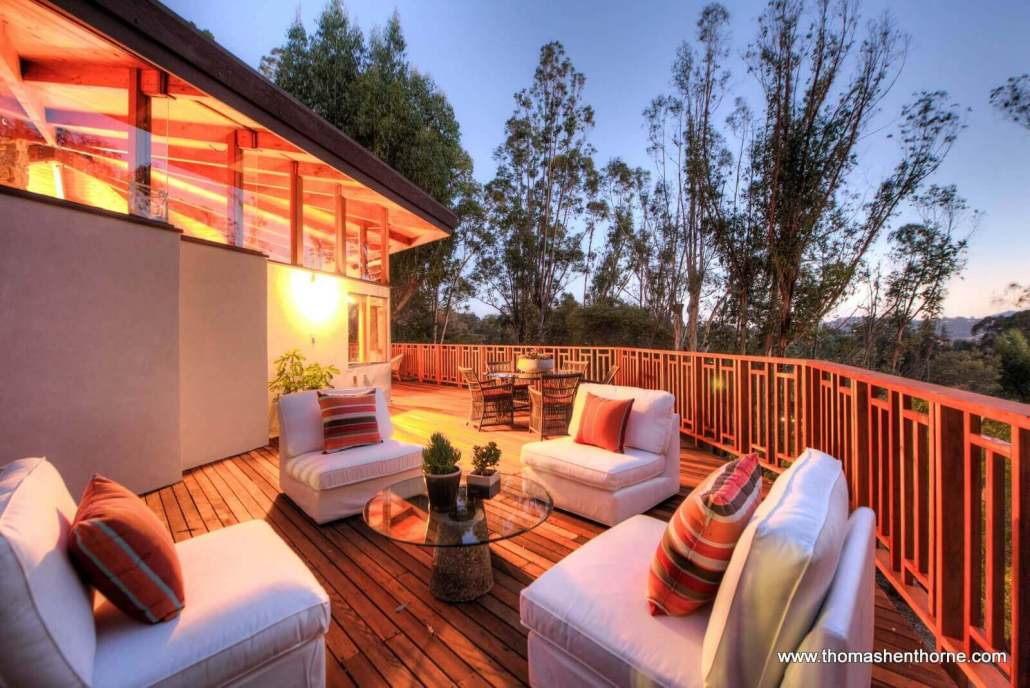 Outdoor deck at dusk