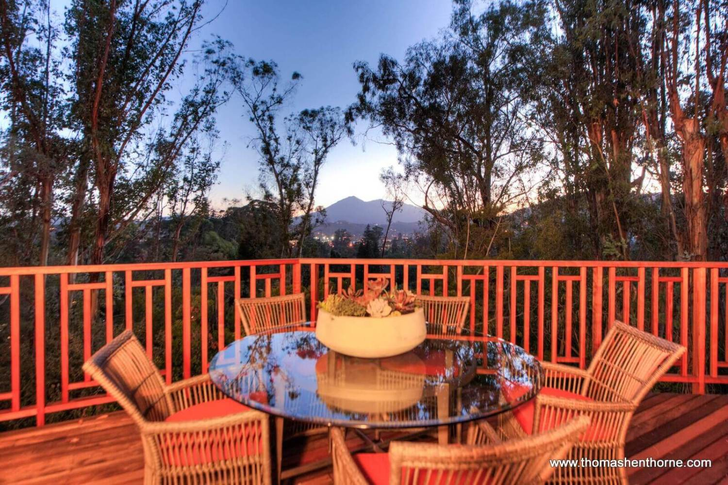 Outdoor dining table with Mt. Tam in background