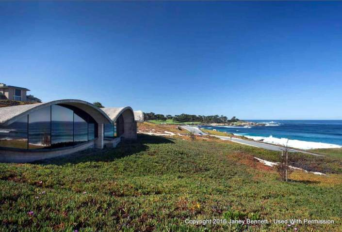 House with wave roof and ocean