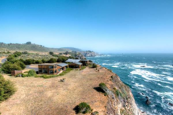 Sea Arches Exterior Aerial View Mendocino Coastal Home for Sale