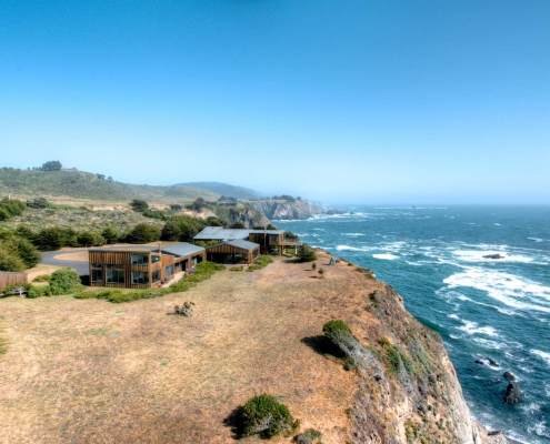 Sea Arches Exterior Aerial View Mendocino Coastal Home for Sale