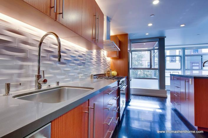 124 Lily Street San Francisco kitchen with heath tile backsplash