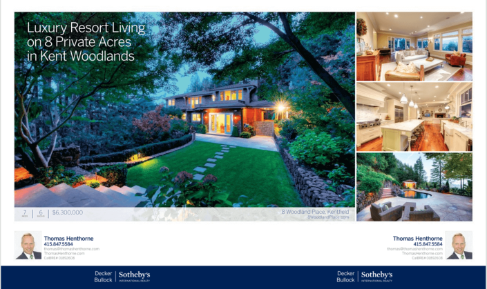 Advertisement in Marin Magazine for 8 Woodland Place in Kentfield