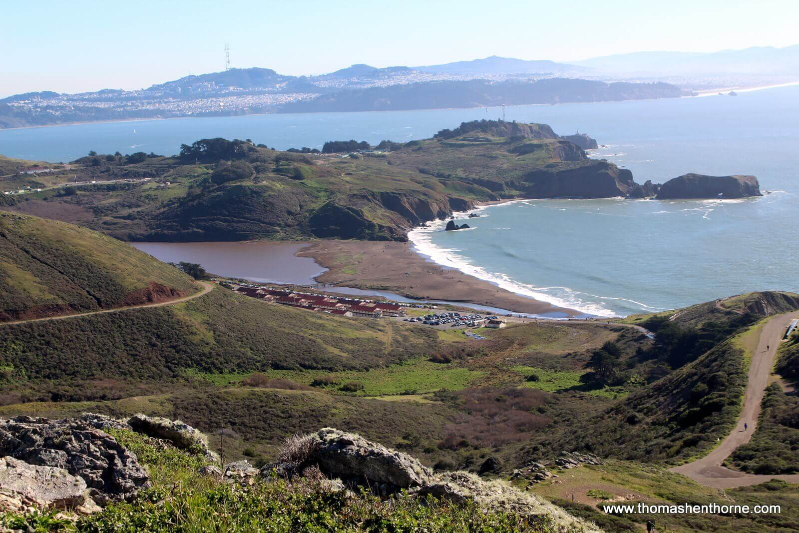 View of Rodeo Beach from high above