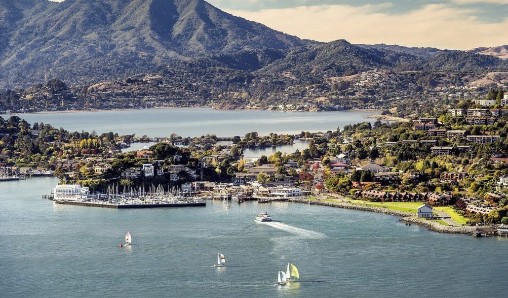 Aerial photo of Tiburon, California