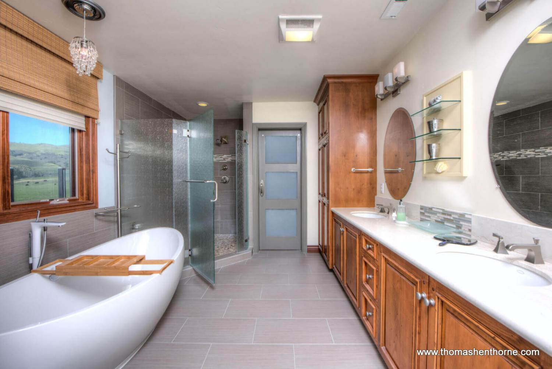Master bathroom with dual vanity