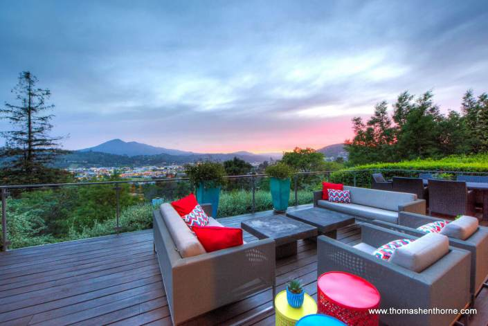 Back deck at sunset with view of Mt. Tam