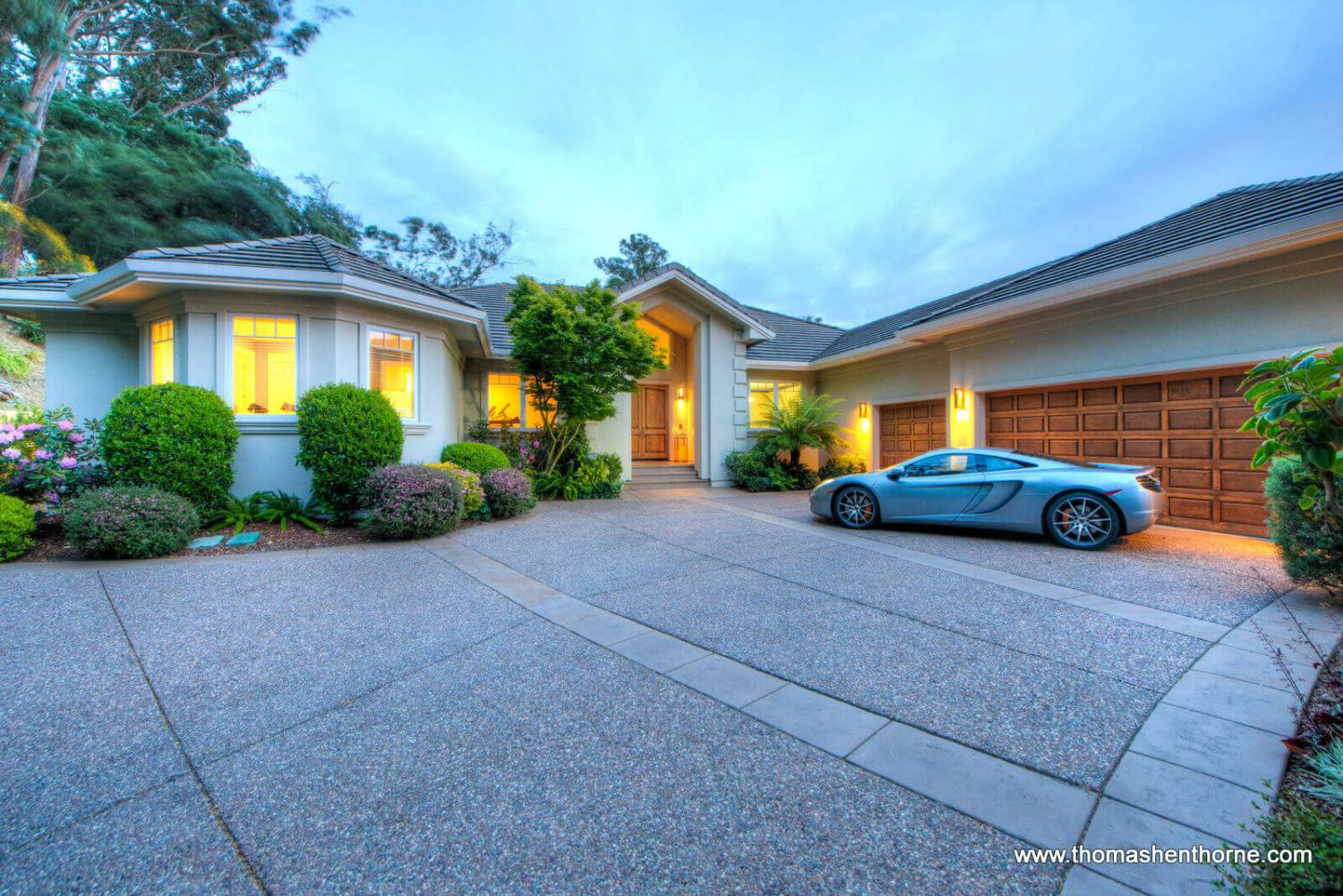 Front exterior of 87 Brodea Way San Rafael with McLaren