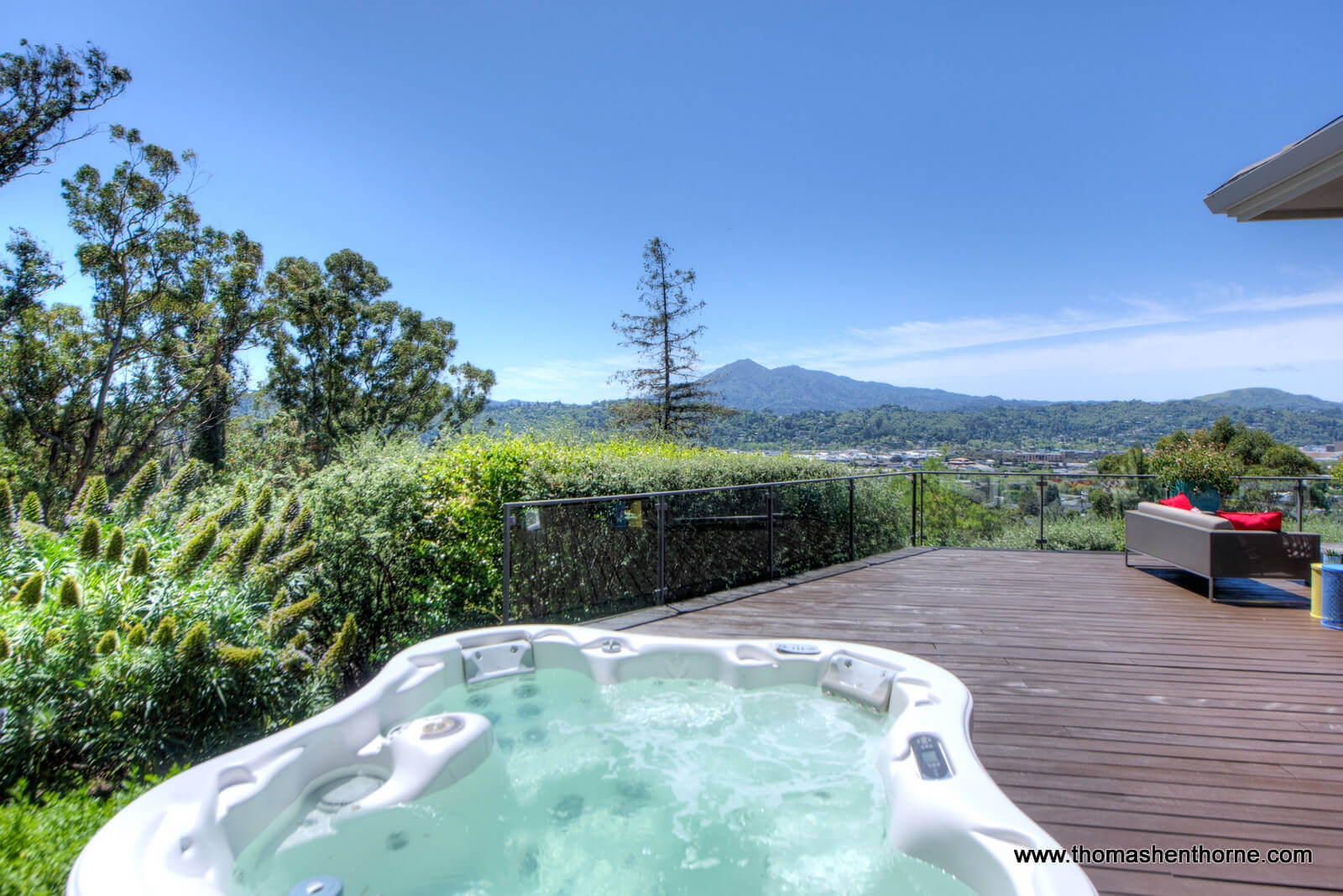 Hot tub with view of Mt. Tamalpais