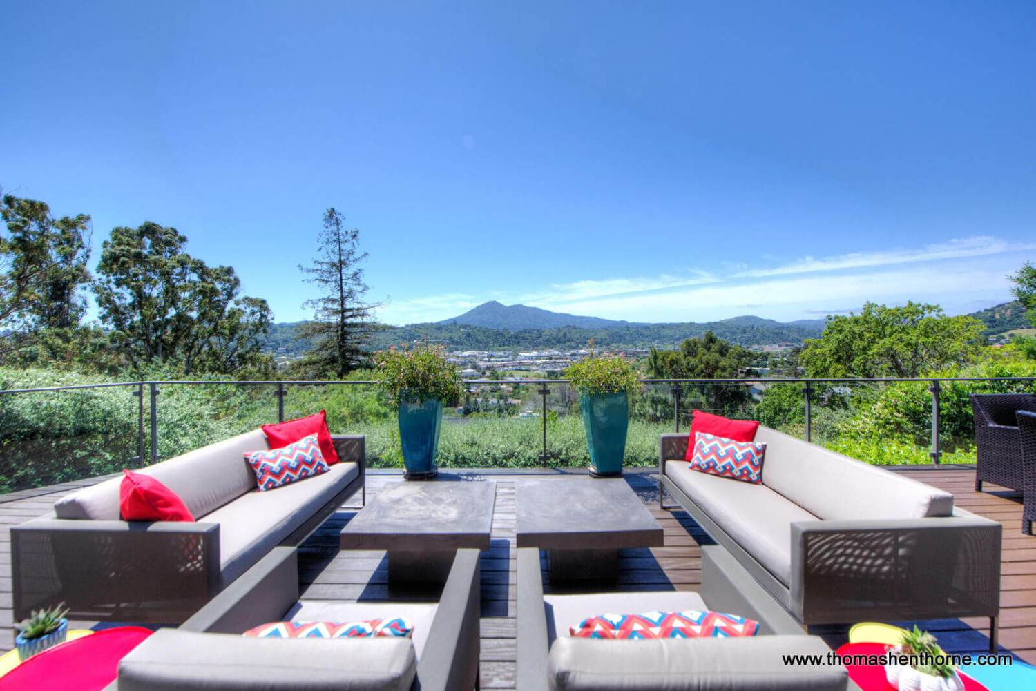 Outdoor furniture on deck with view of Mt. Tamalpais