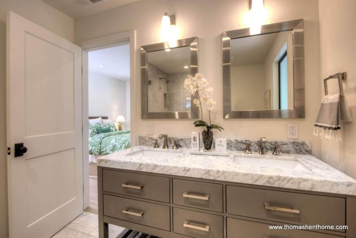 Master bathroom vanity with marble counter