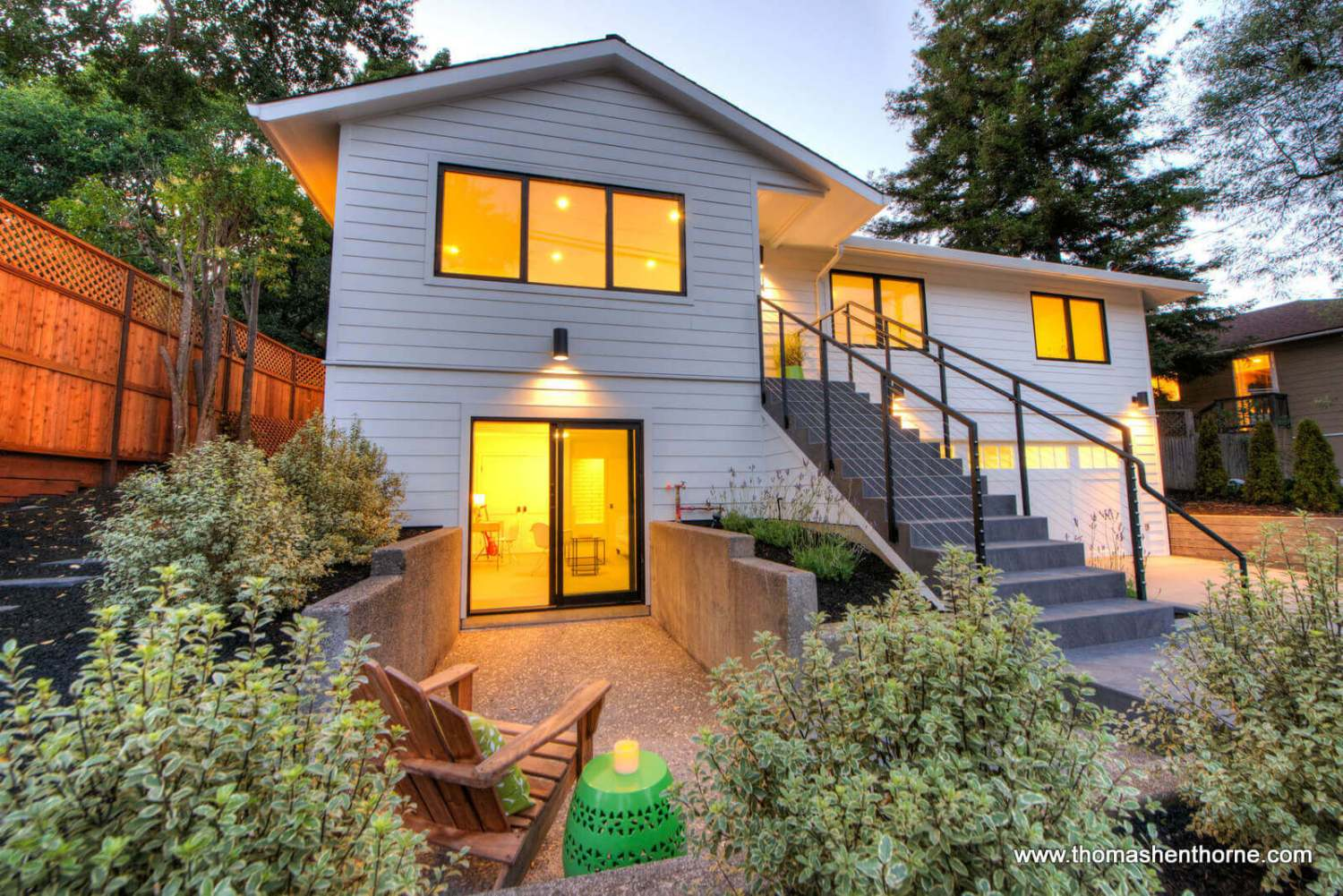 304 Bolinas Avenue in San Anselmo, California front exterior at dusk