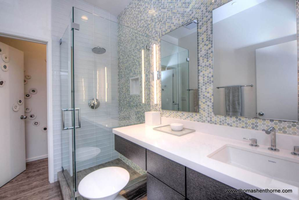 master bathroom with glass shower surround