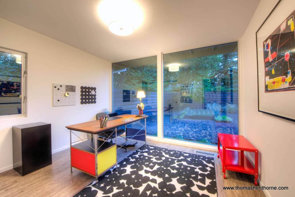 office with yard through windows