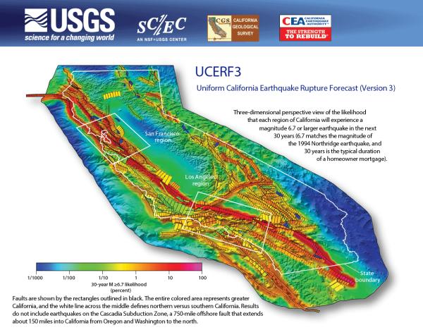 California Earthquake Forecast Map from USGS