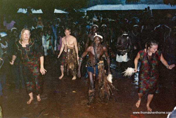 Dancing a Traditional African Dance at a Fete in a Neighboring Village