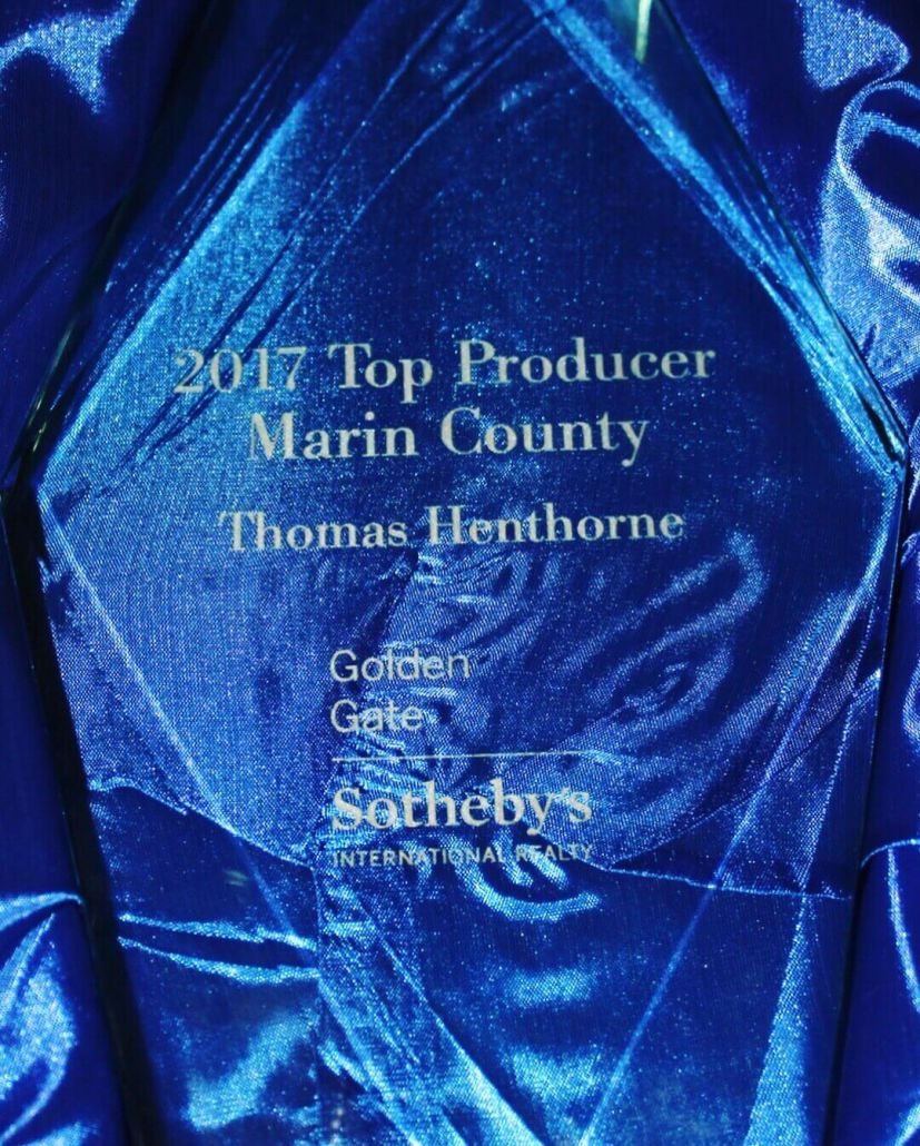 Marin County Number One Real Estate Agent Award from Golden Gate Sotheby's International Realty