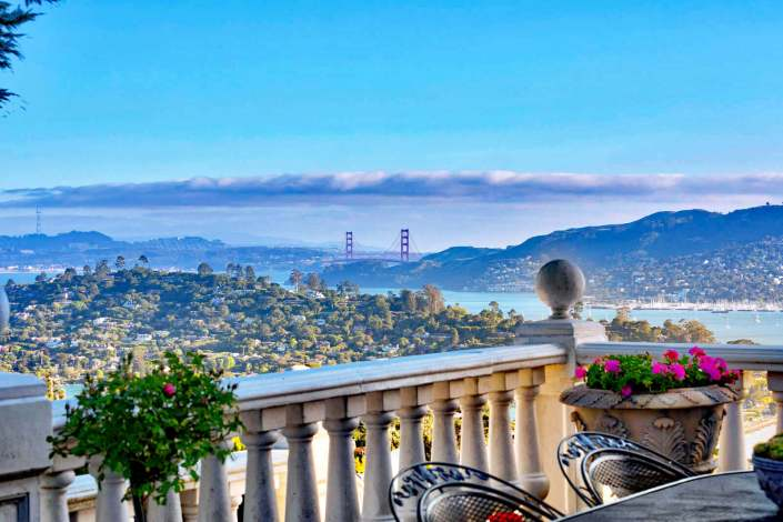 View of Golden Gate Bridge from patio at 190 Gilmartin Drive in Tiburon, California