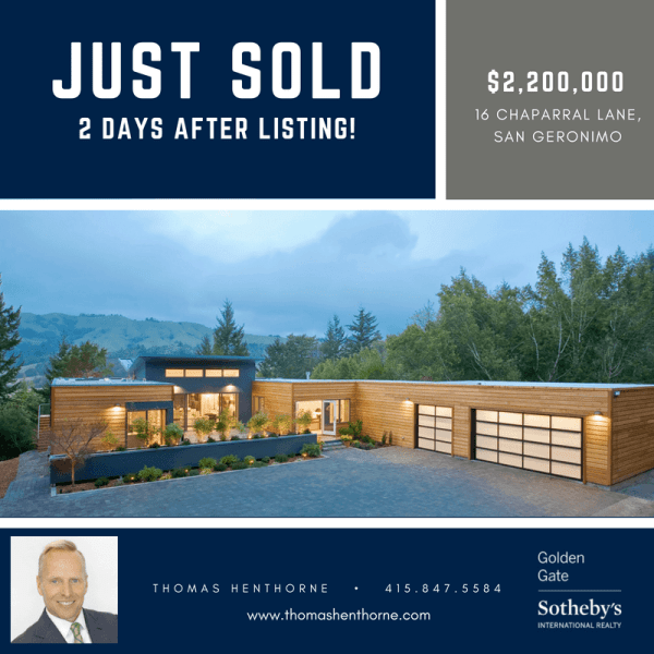 16 Chaparral Lane in San Geronimo Sold Infographic