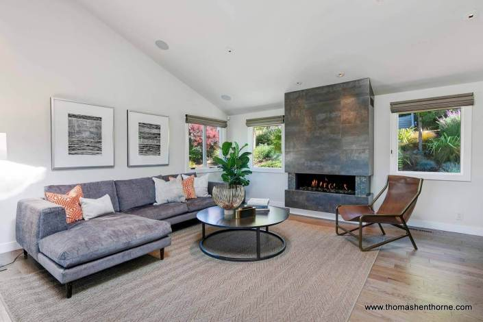 Living room with modern gas fireplace