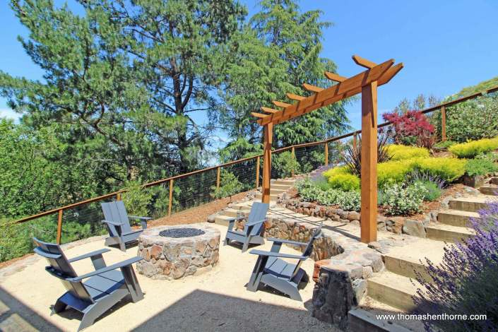 Firepit with chairs and trellis