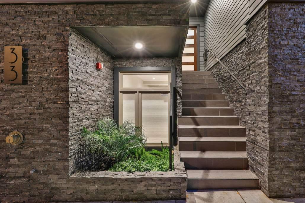 Entry stairway in modern luxury San Francisco home