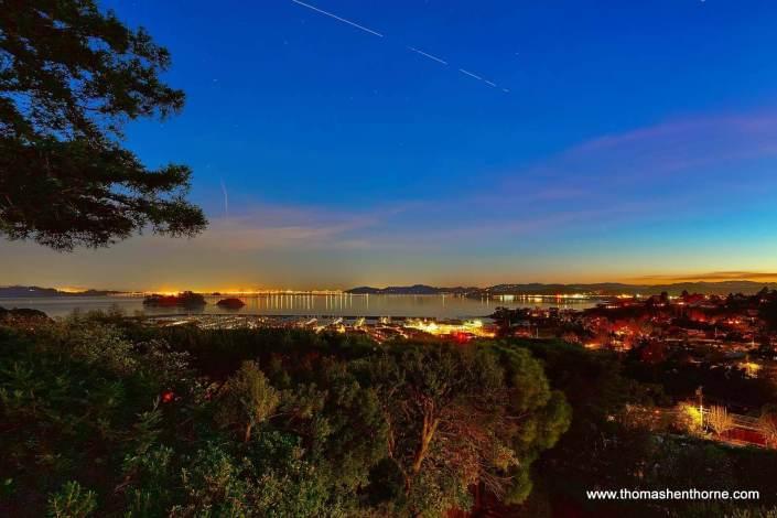 View of San Francisco Bay / San Pablo Bay at twilight