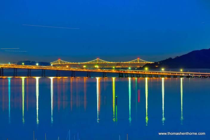 Bay bridge and Richmond San Rafael bridge at twilight