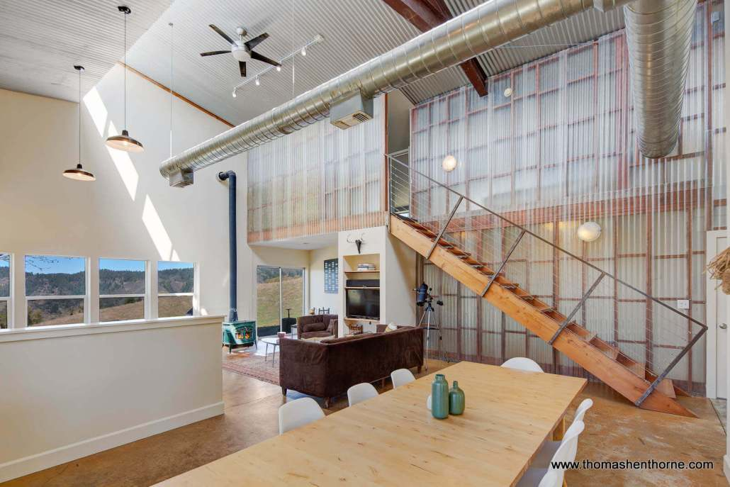 Modern designed loft like open space in living and dining areas