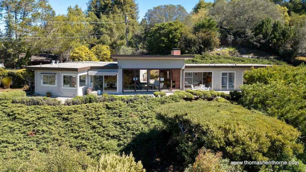 Midcentury Modern home aerial view