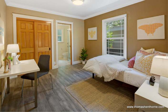 Bedroom with adjoining bathroom