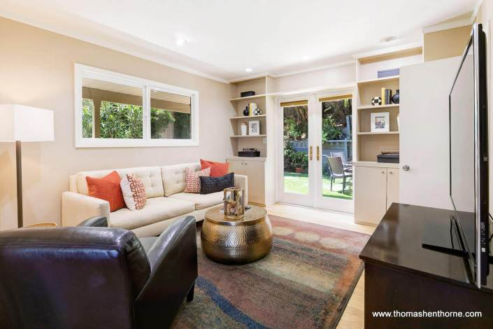 Living room with French doors to garden outside