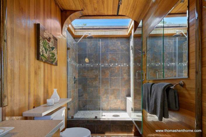 Shower with tile surround and skylight