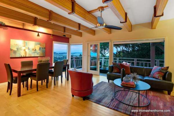 Open floor plan with dining and living area