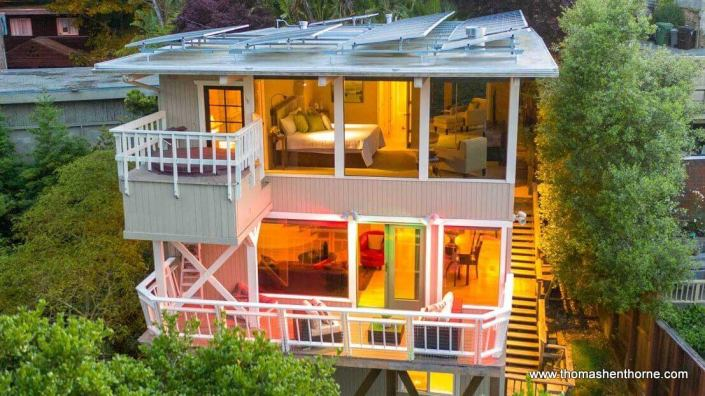 Aerial view of 660 Redwood Avenue in Corte Madera