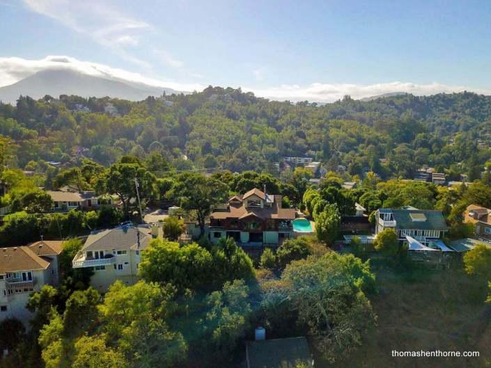 Aerial view Southern Heights neighborhood in San Rafael