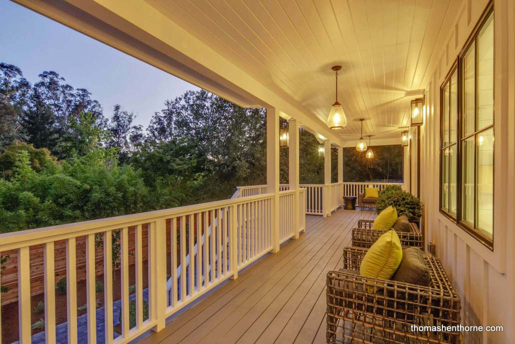 Front porch with wicker chairs