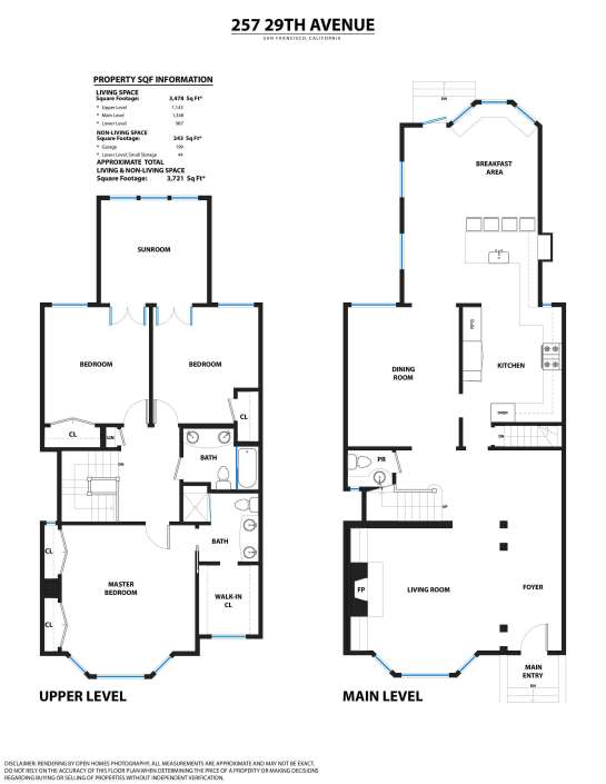 Floorplans for 257 29th Avenue in San Francisco