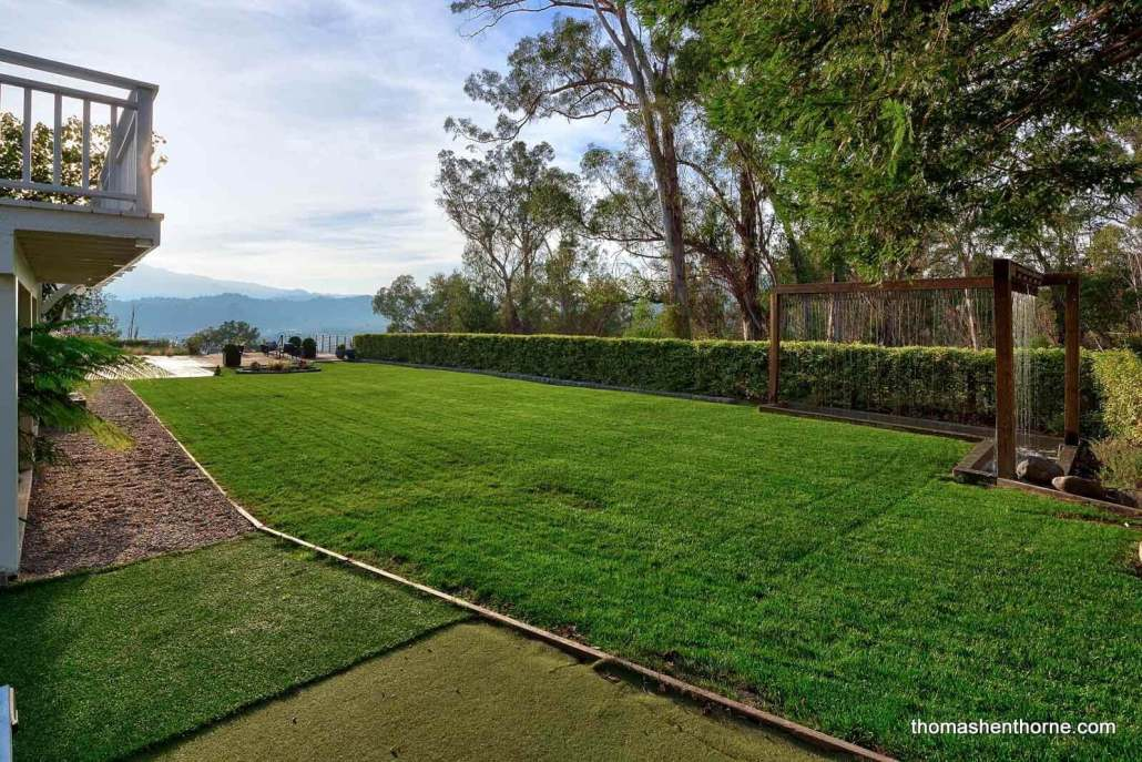 Large level lawn area
