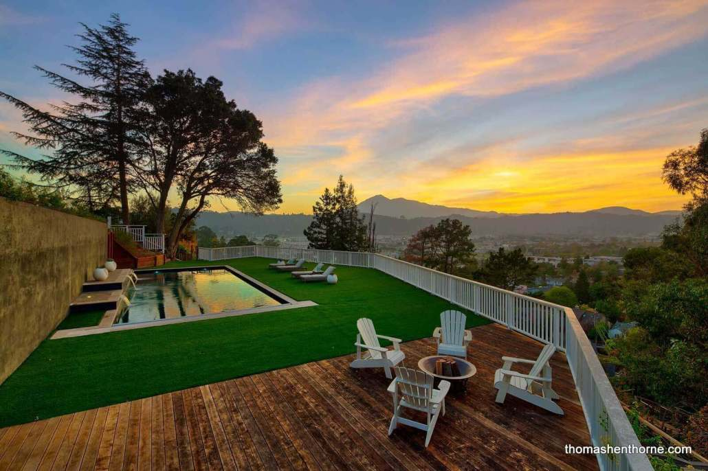Pool area in Marin county at sunset