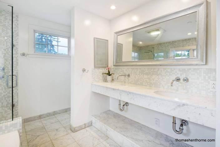Dual sink marble vanity