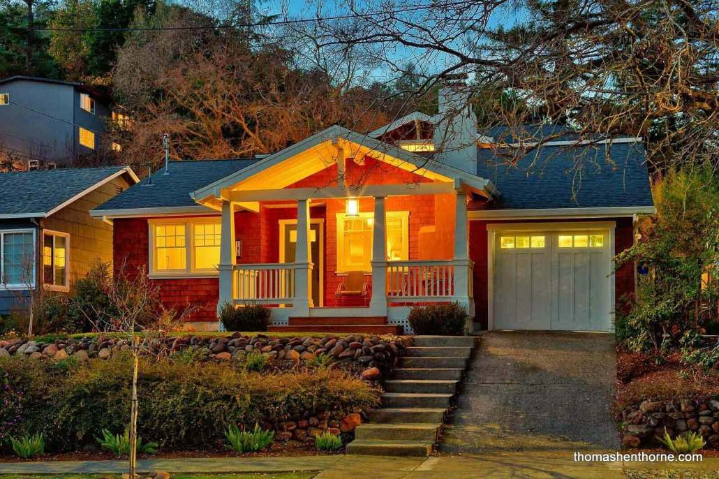 Craftsman home at twilight