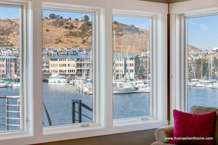 View of bay through windows