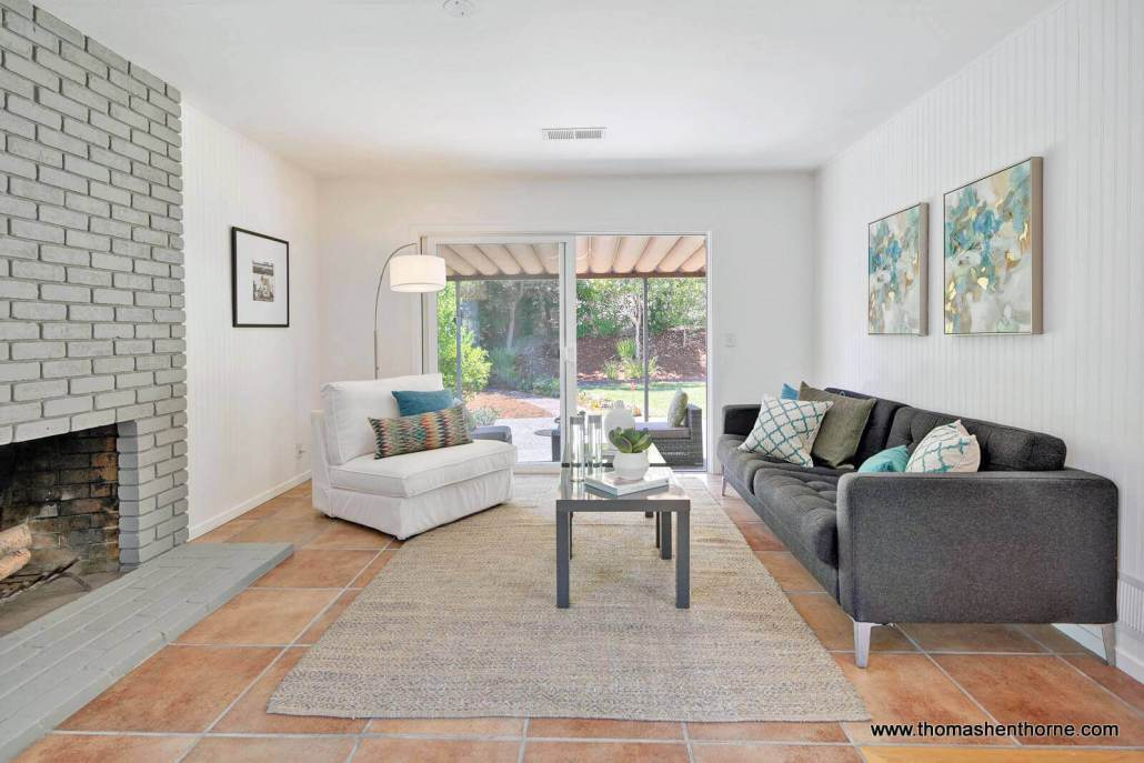 family room with sliding door to back yard
