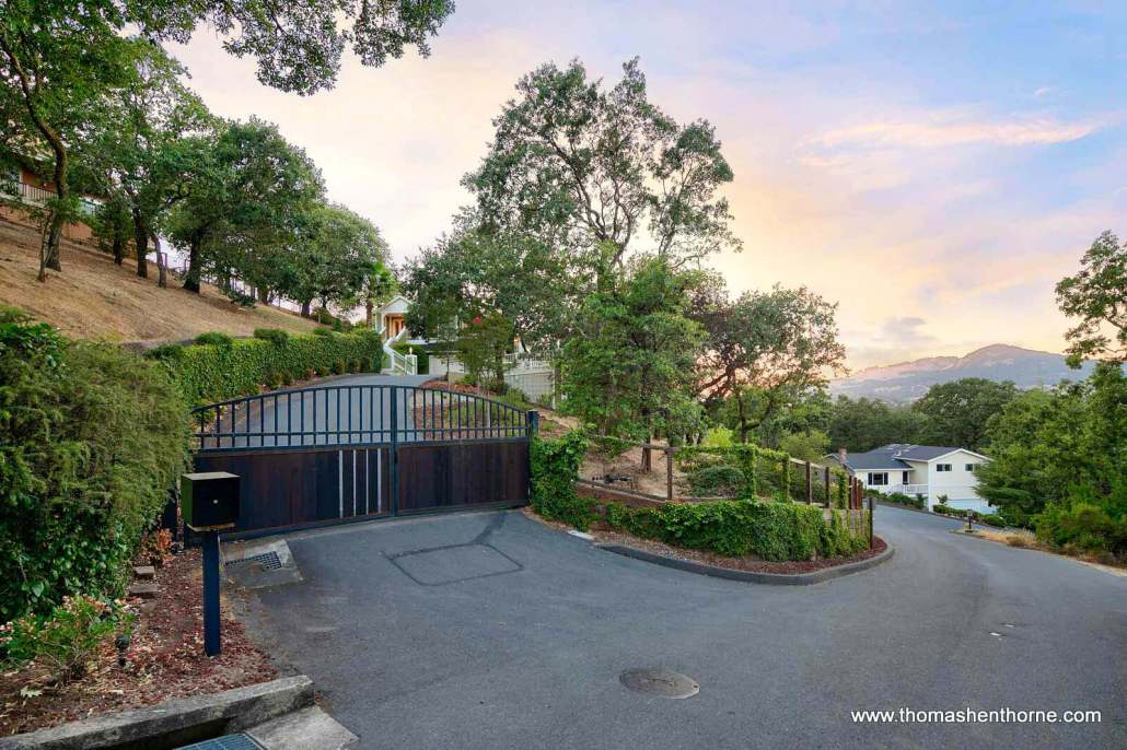 Gated entry to 6 Oak Park Drive in Novato