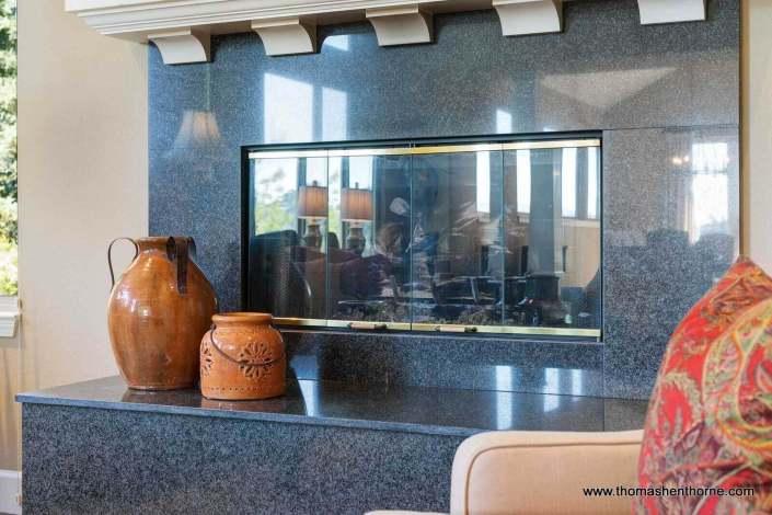 Black granite tile fireplace