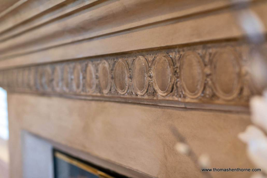 Closeup of fireplace detailing