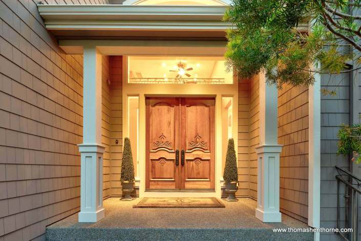 Luxury real estate front door in Novato California