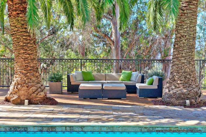 outdoor furniture by pool
